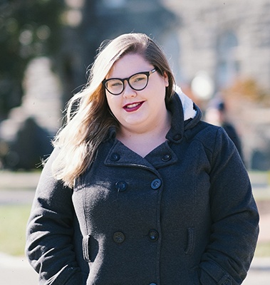 Amanda Scott poses outside Healy Hall